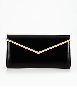 v-by-very-patent-v-bar-clutch-bag