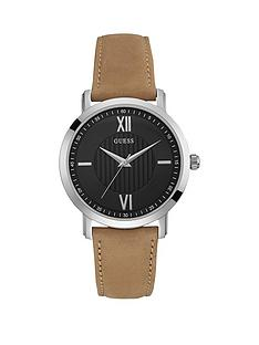 guess-guess-black-dial-silver-case-tan-leather-strap-mens-watch
