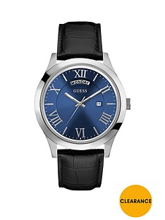 guess-guess-blue-dial-black-leather-strap-mens-watch