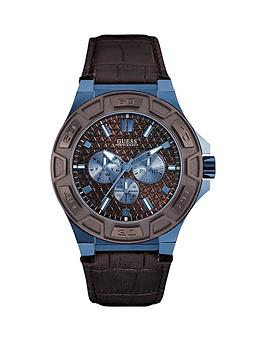 Guess Guess Brown Dial Sky Blue Case Brown Leather Strap Mens Watch