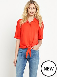 v-by-very-12-sleeve-knot-front-blouse