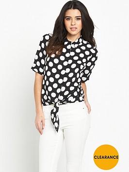 v-by-very-knot-front-spot-print-blouse