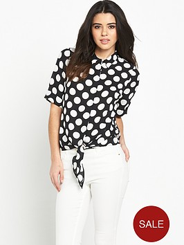 v-by-very-knot-front-spot-print-blouse