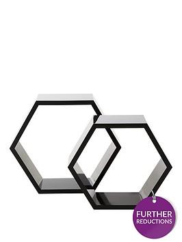 set-of-2-hexagon-shelves-black