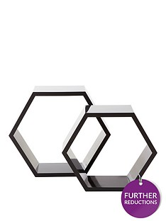 set-of-2-hexagon-shelves-grey