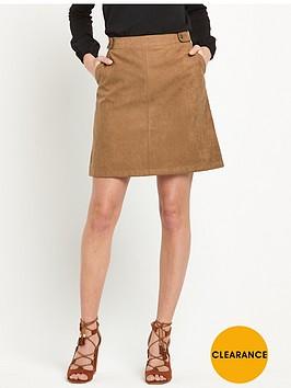 oasis-suedette-tab-detail-skirt