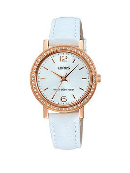 d16d3ee8c410 Lorus Lorus Rose Gold Case White Leather White Strap Ladies Watch
