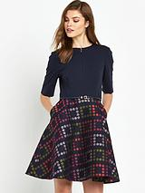 Horticultural Check Dress - Navy