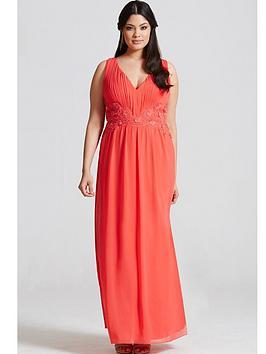 little-mistress-curve-lace-waist-maxi-dress