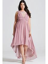 Dusty Pink Dipped Hem Maxi Dress