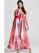 Galaxy Print Chiffon Maxi Dress