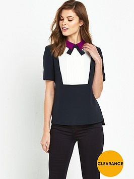 ted-baker-pleated-front-bow-top-navy