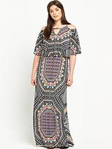 Cold Shoulder Print Maxi Dress