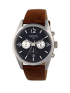 kahuna-kahuna-black-dial-chronograph-tan-strap-mens-watch