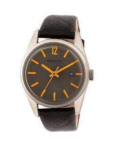 kahuna-kahuna-grey-face-orange-detailing-black-leather-strap-mens-watch