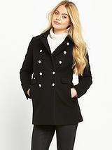 Military Pea Coat- Black