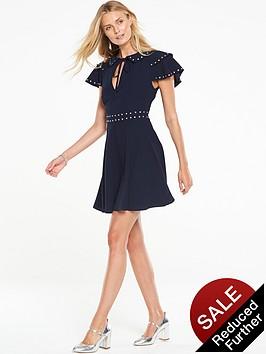v-by-very-stud-ruffle-sleeve-tea-dress