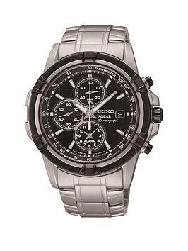 Seiko Seiko Solar Black Dial Chronograph Bracelet Mens Watch