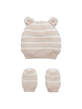 Mini V By Very Baby Girls Stripe Animal Ears Hat And Mittens Set (2 Pack)