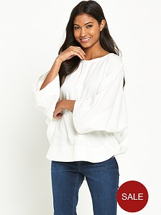 warehouse-oversized-drawstring-top