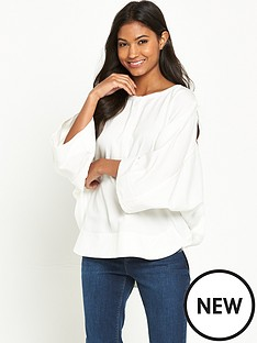 warehouse-warehouse-oversized-drawstring-top