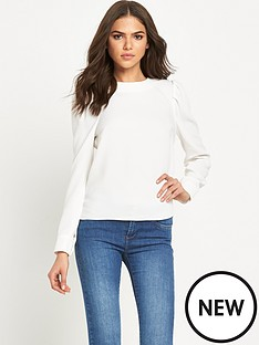 warehouse-long-sleeve-blouse-with-puffed-shoulders