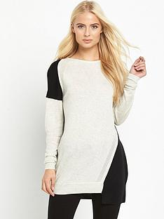 warehouse-colour-block-step-hem-jumper