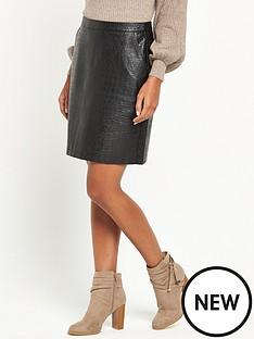 warehouse-croc-pu-skirt-black