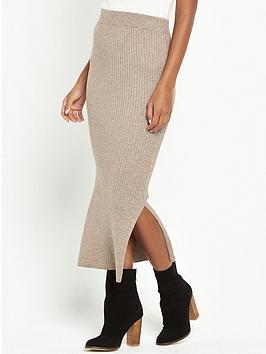 warehouse-ribbed-skirt-co-ord-skirt-neutral