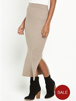 warehouse-ribbed-skirt-co-ord-skirt-neutral