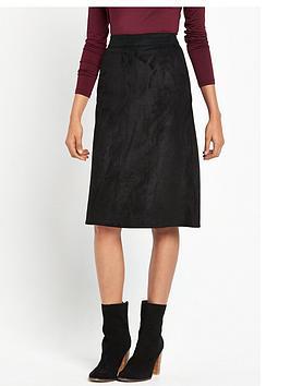 warehouse-suedette-midi-skirt-black