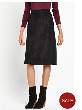 warehouse-suedette-midi-skirt-black