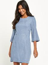 Clean Fit And Flare Dress - Light Wash