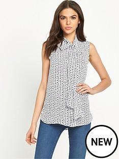 warehouse-print-sleeveless-blouse