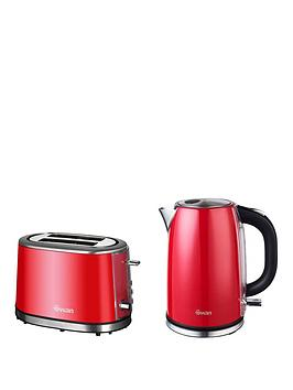 Swan Kettle And 2Slice Toaster Pack  Red
