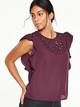 Cut-Out Ruffle Sleeve Blouse