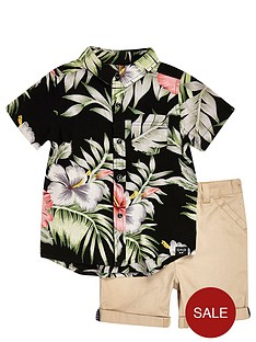 river-island-mini-boys-hawaiian-shirt-and-chino-shorts-set