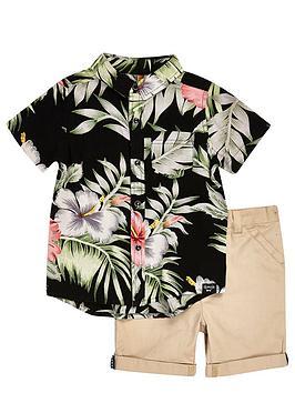 river-island-mini-boys-hawaiian-shirt-and-chino-shorts-set