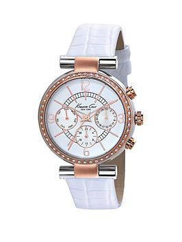 kenneth-cole-chronograph-dial-rose-detailing-white-leather-strap-ladies-watch