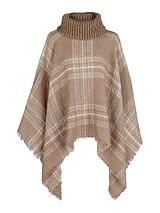 Ribbed Neck Boucle Check Poncho Cape