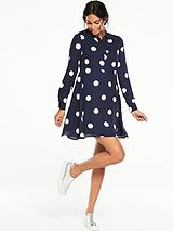 Collared Swing Spot Dress