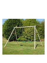 Triple Round Wood Swing Set
