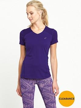 asics-fuze-x-v-necknbspshort-sleevenbsptop-purple