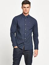 Printed Long Sleeve Stretch Shirt