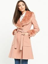 Belted Waist Coat WithFaux Fur Collar