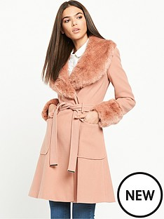 miss-selfridge-miss-selfridge-fur-collar-and-cuffs-tie-belted-fit-and-flare-coat