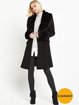 miss-selfridge-belted-waist-coat-with-faux-fur-collar-black