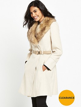 miss-selfridge-fit-and-flare-belted-coat-with-faux-fur-collar