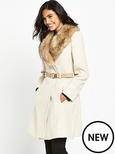 miss-selfridge-miss-selfridge-stone-fit-and-flare-belted-fur-collar-coat