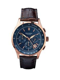 sekonda-sekonda-blue-dial-chronograph-rose-case-dark-tan-mens-watch